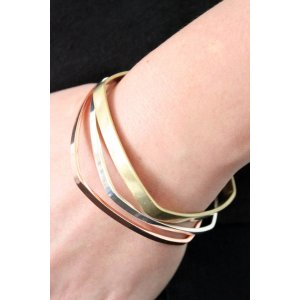 Bing Bang Square Bangles in Mixed Metal