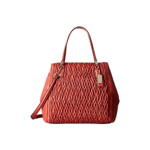 COACH Madison Gathered Twist Leather North/South Satchel 2 Vermillion - 6pm.com