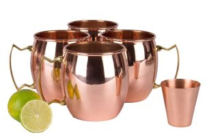 A29 Moscow Mule Solid 100 % Pure Copper Unlined Mug / Cup, Set of 4