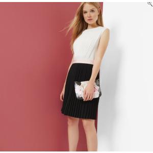 Color block pleated dress - Black   Dresses   Ted Baker