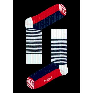 Half Stripe Fashion Crew Socks in blue,red and White. Buy Socks Online at Happy Socks.