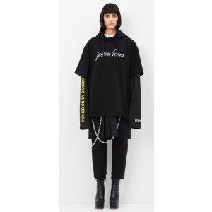 Vetements BLACK + PRINT DOUBLE SLEEVE T-SHIRT DRESS