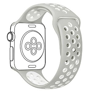 Amazon.com: OULUOQI 38mm Soft Silicone Replacement Band with Ventilation Holes for Apple Wacth Nike+,Series 2, Series 1, Sport, Edition,M/L Size ( Silver / White ): Cell Phones & Accessories