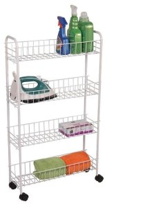 4-Tier Rolling Storage Rack, Cart For Kitchen, Office or Laundry