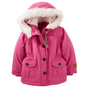 Toddler Girl Faux Fur Trim Parka   Carters.com