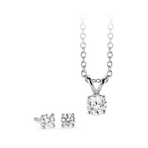 Diamond Solitaire Earring and Pendant Set in 14k White Gold (1 ct. tw.) | Blue Nile