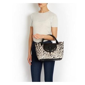 White leopard print leather tote bag |