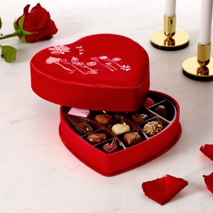Valentine's Day Satin Embroidered Heart Chocolate Gift Box, 14 pc. | GODIVA
