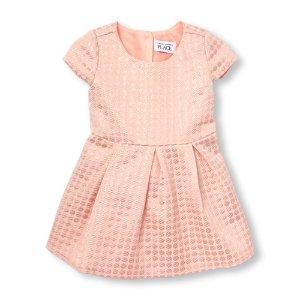 Toddler Girls Cap Sleeve Metallic Jacquard Flare Dress   The Children's Place