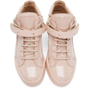 Giuseppe Zanotti: Pink Patent Leather London High-Top Sneakers