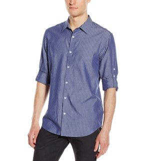$18.05 Calvin Klein Men's Long-Sleeve Cotton Tencel Stripe Shirt