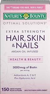 $5.21 Nature's Bounty Optimal Solutions Hair, Skin & Nails Extra Strength, 150 Softgels