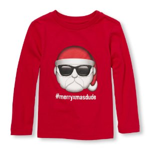 Toddler Boys Long Sleeve 'merryxmasdude ' Santa Emoji Graphic Tee | The Children's Place