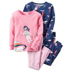 Baby Girl 4-Piece Snug Fit Cotton PJs | Carters.com