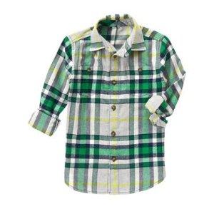 Boys Pine Plaid Flannel Shirt by Gymboree