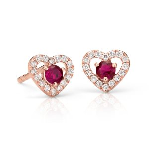 Petite Ruby and Diamond Pavé Heart Stud Earrings in 14k Rose Gold (2.5mm) | Blue Nile