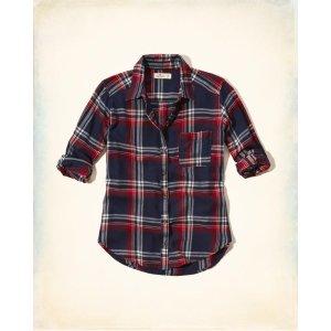 Girls Button-Front Flannel Shirt | Girls Clearance | HollisterCo.com