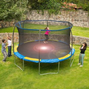 $179 Bounce Pro 12 ft Trampoline with Flash Light Zone and Enclosure