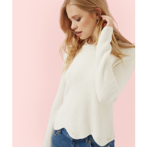 Scalloped edge ribbed sweater - Cream | Sweaters | Ted Baker