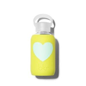Bkr Beauty Bottle Gigi Heart 8 oz. Water Bottle - Opaque Lime Yellow With Light Blue Heart
