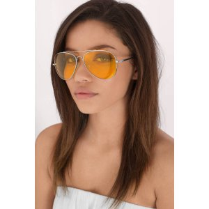 All About It Silver & Yellow Aviator Sunglasses