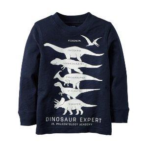 Baby Boy Long-Sleeve Glow-In-The-Dark Dinosaur Expert Graphic Tee | Carters.com