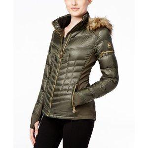 MICHAEL Michael Kors Faux-Fur-Trim Mixed-Media Puffer Coat - Coats - Women - Macy's