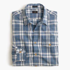 Slim heathered slub cotton shirt in creek blue plaid : 60% off select final sale styles