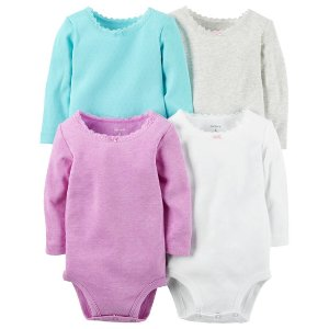 Baby Girl 4-Pack Long-Sleeve Bodysuits | Carters.com