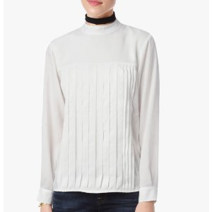 LONG SLEEVE PLEATED BLOUSE IN WHITE 百褶衬衫