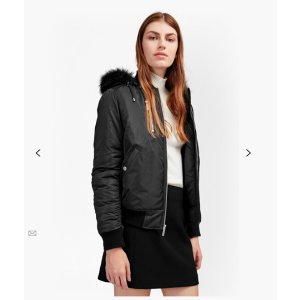 Varsity Bomber With Faux Fur Hood Jacket | Jackets | French Connection Usa