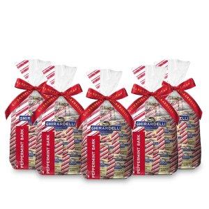 Ghirardelli Milk Chocolate Peppermint Bark 80 Count SQUARES Gift Bag - Peppermint Bark Chocolate - Christmas Gifts