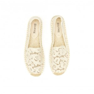 Soludos Tulip Lace Classic Smoking Slipper in Ivory - Soludos Espadrilles