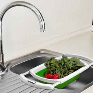 Procizion Kitchen Collapsible Colander Over The Sink Strainer
