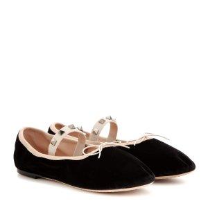 Rockstud Ballet velvet ballerinas