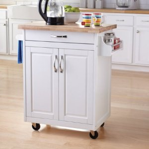 $99(原价$129) 免运费Mainstays厨房中岛台/推车,白色或天然木色