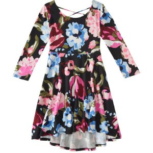 Kids' 3/4 Sleeve Floral Hi-Lo Fit & Flare Dress