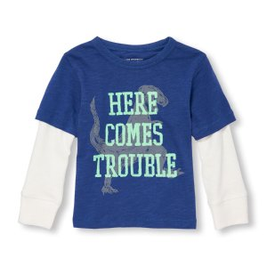 Toddler Boys Long Sleeve Graphic Faux-Layered Top   The Children's Place