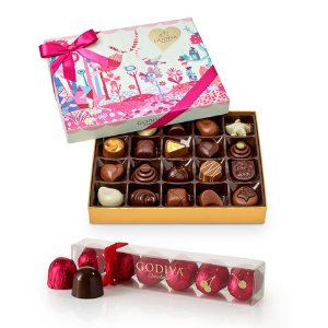 Valentine's Day Chocolate Gift Box, 20 pc. & Cherry Cordials, 6 pc. | GODIVA