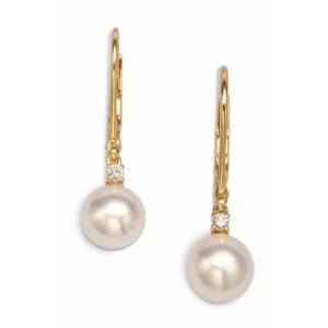 Mikimoto 7MM White Cultured Akoya Pearl, Diamond & 18K Yellow Gold Leverback Earrings
