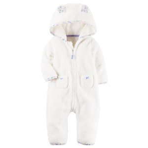 Baby Girl Hooded Sherpa Jumpsuit   Carters.com
