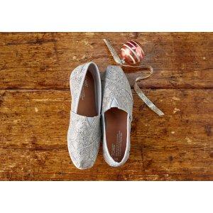Silver Lace Glitz Women's Classics   TOMS