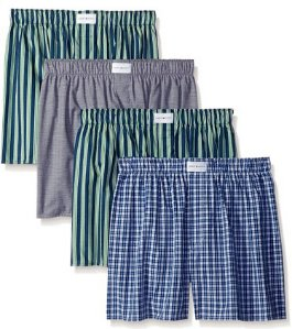 Tommy Hilfiger Men's 4 Pack Plaids and Stripes Woven Boxer