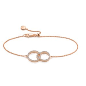 Naida Kiss Open Bracelet in 18ct Rose Gold Vermeil on Sterling Silver with Diamond | Jewellery by Monica Vinader