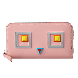 FENDI Square Eyes Leather Zip Around Wallet