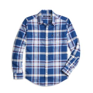 Boys' Blue and Burgundy Flannel Tartan Sport Shirt | Brooks Brothers