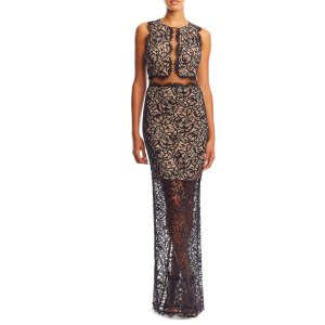Illusion Lace High Neck Gown