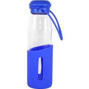 $2.81(原价$9.99)Gourmet Home Products 16盎司 玻璃宽口水瓶带半硅胶保护套,蓝色或黑色