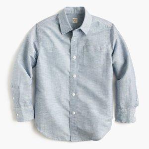 Kids' linen-cotton shirt : 50% off select final sale styles   J.Crew