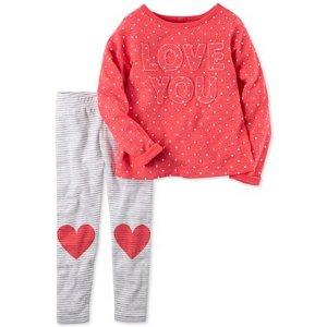 Carter's 2-Pc. Love You Top & Heart Leggings Set, Baby Girls (0-24 months) - Carter's - Kids & Baby - Macy's